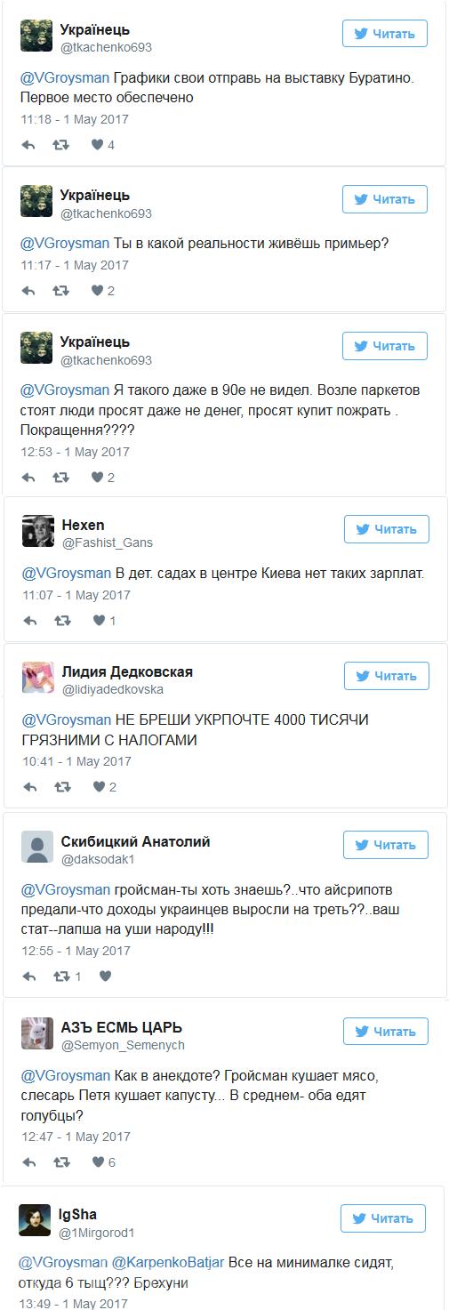 «Не бреши!!!» Украинцы высмеяли Гройсмана, который похвалился повышением средней зарплаты (ФОТО)