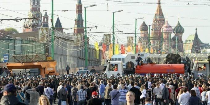 В Москве на акцию либеральной оппозиции пришла только десятая часть от заявленного количества