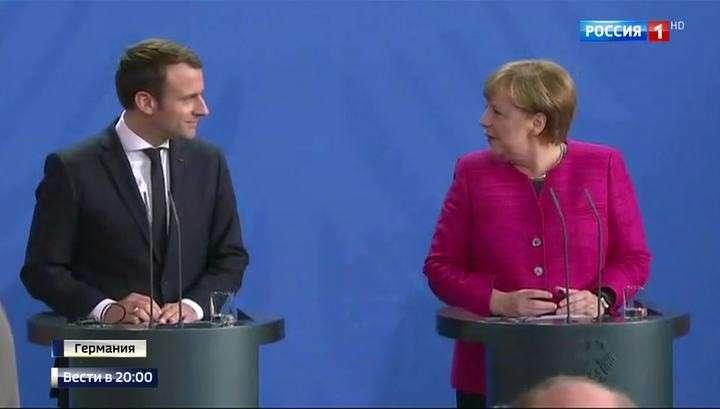 В Берлине состоялась сверка часов и координация позиций Эммануэля Макрона и Ангелы Меркель