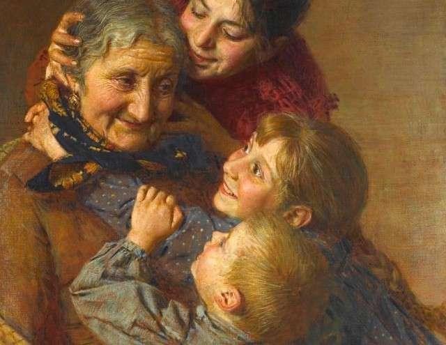 Гаэтано Беллей. Бабушка и внуки (фрагмент)
