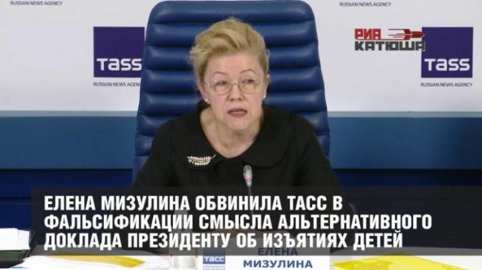 Елена Мизулина обвинила ТАСС в фальсификации Альтернативного доклада Президенту об изъятиях детей
