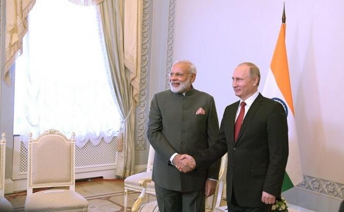 Встреча Владимира Путина сПремьер-министром Индии Нарендрой Моди