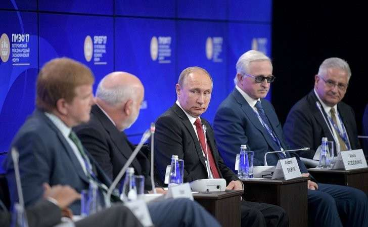 Владимир Путин принял участие впанельной дискуссии «Бизнес-диалог Россия– США».