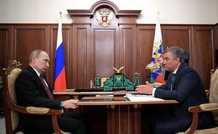 Владимир Путин провёл встречу с Председателем Государственной Думы Вячеславом Володиным
