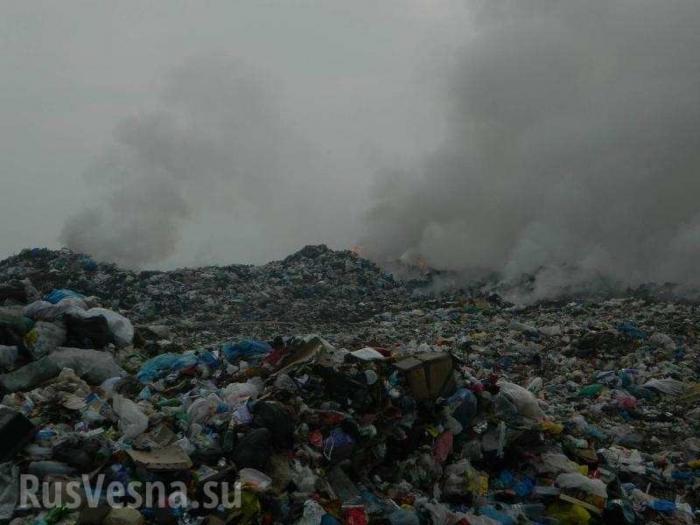 Украина: горит мусорная свалка на Закарпатье