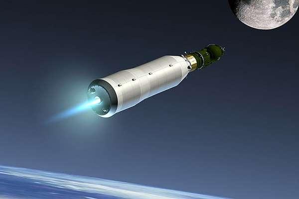 Лунный корабль Л3 (в головной части) на пути к спутнику Земли (в представлении художника)