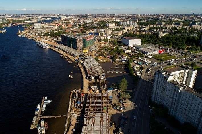 Строительство нового участка набережной Макарова вСанкт-Петербурге