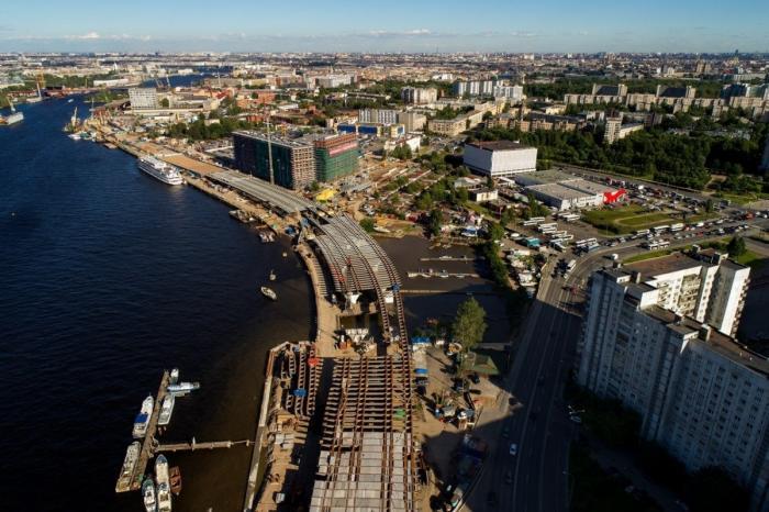 Санкт-Петербург: строительство нового участка набережной Макарова