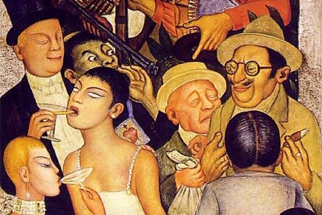 Диего Ривера. Ночь богатых (фрагмент). 1928