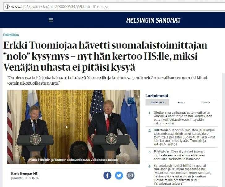 Бывший министр иностранных дел Финляндии Эркки Туомиоя поучил уму-разуму русофреников