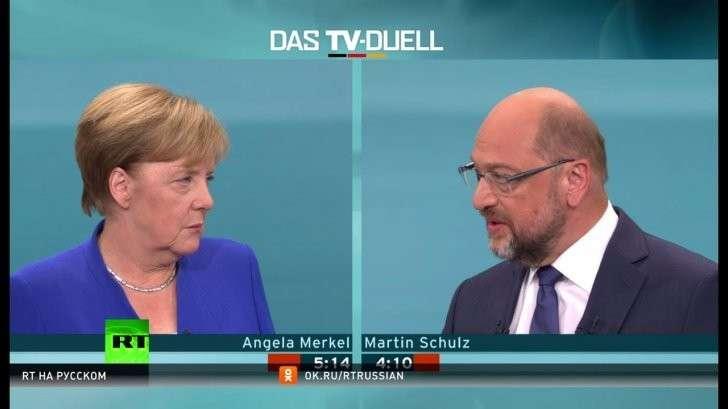 Выборы в Германии: Меркель победила мальчика для битья в теледебатах