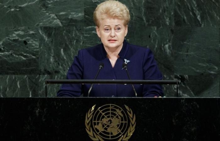 Делегация России покинула зал ГА ООН перед выступлением невменяемой президентши Литвы