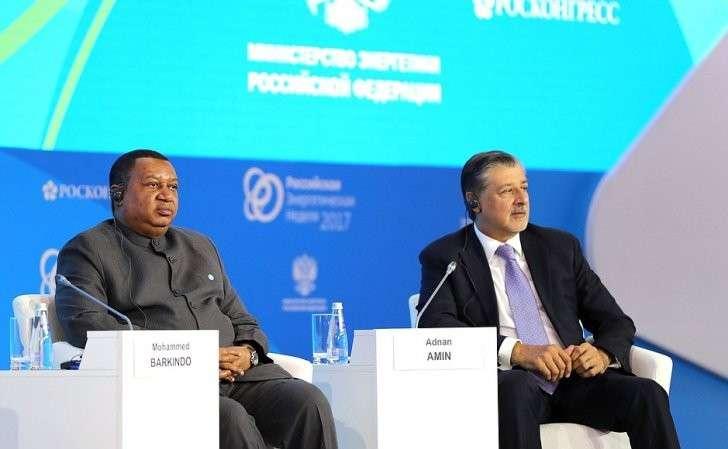 Генеральный секретарь Организации стран– экспортёров нефти Мохаммад Баркиндо игенеральный директор Международного агентства повозобновляемым источникам энергии Аднан Зе Амин напленарном заседании «Энергия для глобального роста» первого Международного форума поэнергоэффективности иразвитию энергетики «Российская энергетическая неделя».