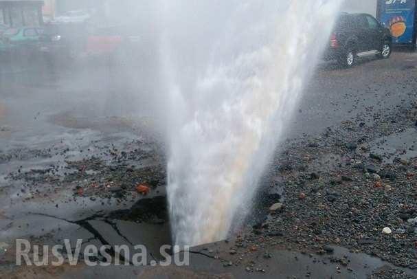 Харьков: из-под земли забил фонтан высотой с6-этажный дом. Агония ЖКХ