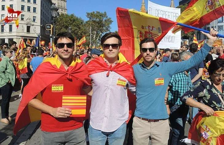 Наваррцы в Барселоне за единство Испании Фото: Дарья АСЛАМОВА