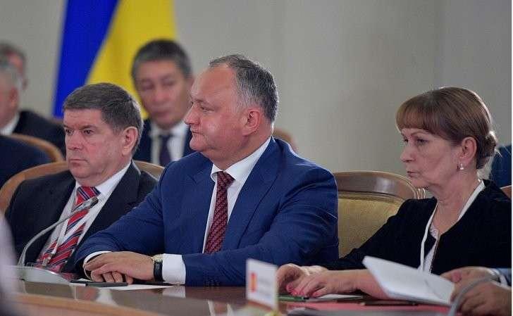 Президент Молдовы Игорь Додон назаседании Совета глав государств СНГ врасширенном составе.