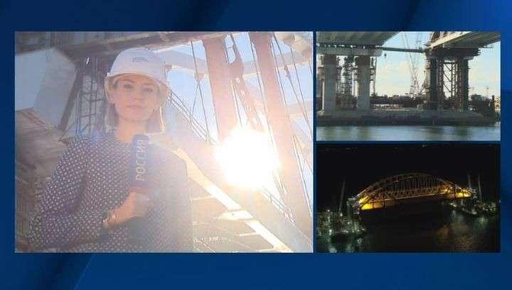 Мост в Крым: автодорожную арку устанавливают третий день
