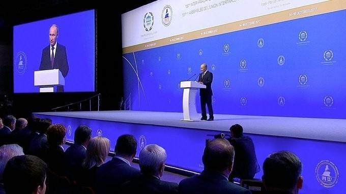 Владимир Путин выступил на церемонии открытия Ассамблеи Межпарламентского Союза (МПС)