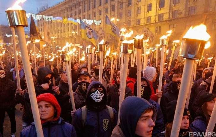 Киев: факельное шествие бандеронацистов. Фотоотчёт