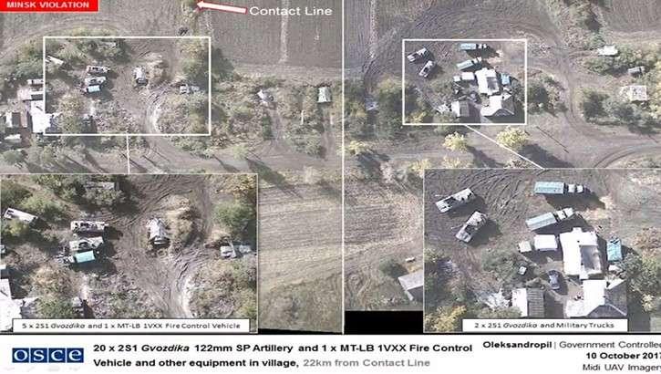 ОБСЕ зафиксировала в Донбассе не отведённую военную технику карателей