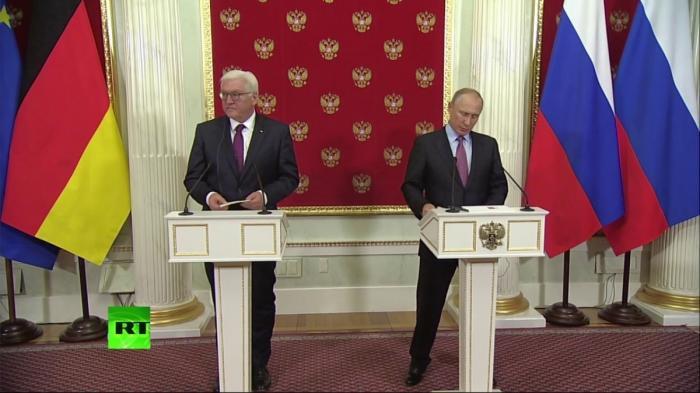 Пресс-конференция Владимира Путина и Франка-Вальтера Штайнмайера по итогам переговоров