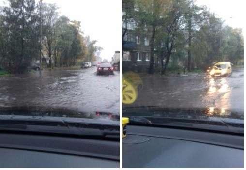 Калининград уходит под воду: ливнёвка не справляется, по улицам несутся потоки воды