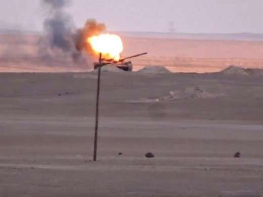 Сирия: ПТУР из США превратил еще один правительственный Т-72 в факел