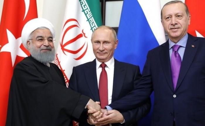 Встреча Владимира Путина сПрезидентом Ирана иПрезидентом Турции