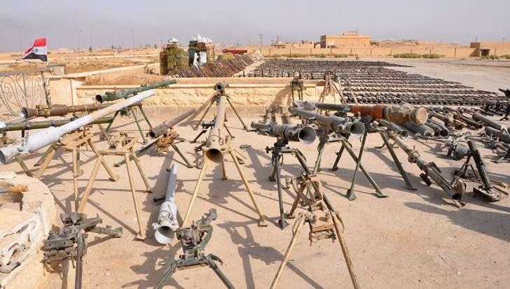 Сирийская армия показала оружие, захваченное у американских наёмников