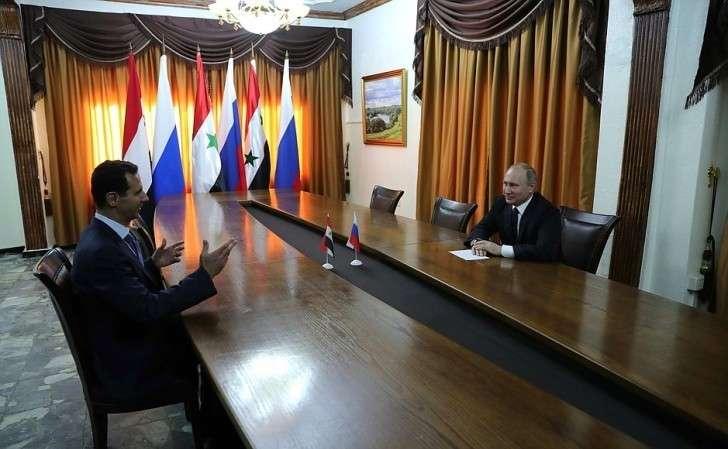 Встреча сПрезидентом Сирии Башаром Асадом наавиабазе Хмеймим вСирии.