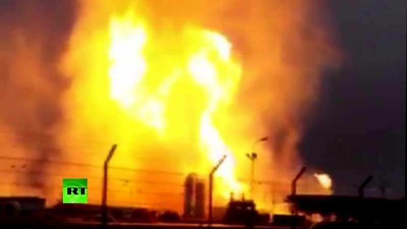 Видео пожара на газораспределительной станции в Австрии