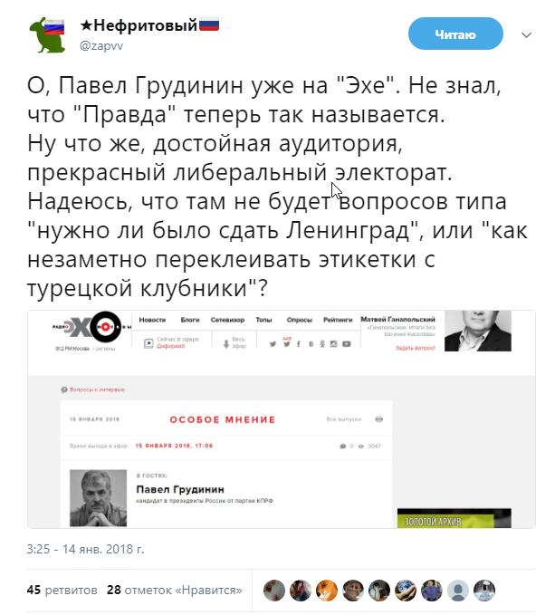 Грудинин – это политическая реинкарнация еврея Ходорковского