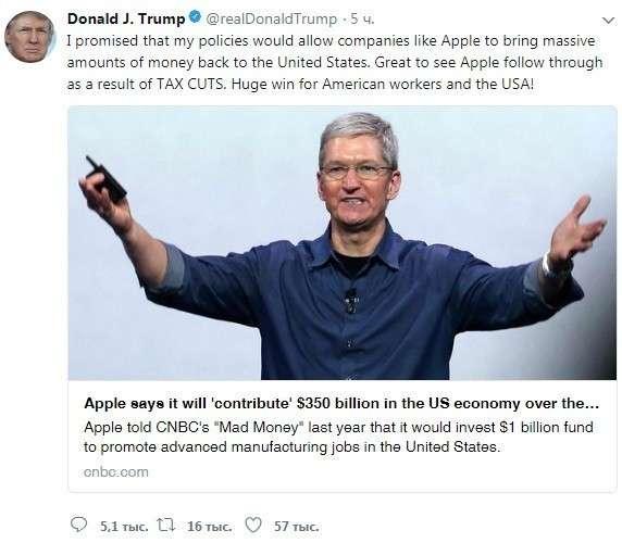 Победа Трампа: Apple возвращает в США из оффшоров $252 млрд