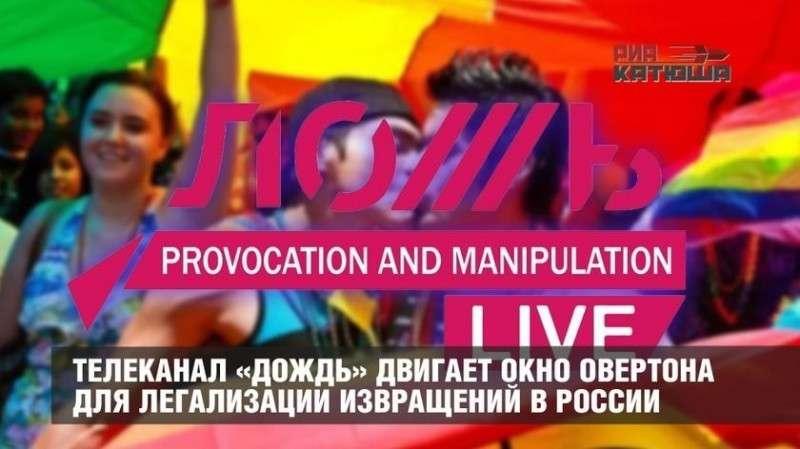 Телеканал «Дождь» двигает «голубое» окно Овертона для легализации извращений в России
