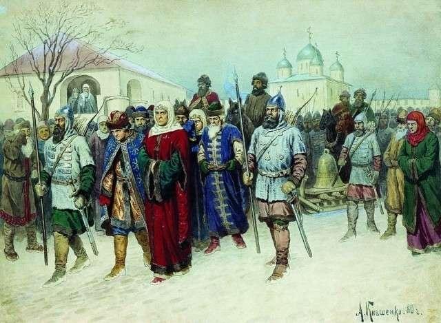 Алексей Кившенко. Отправка Марфы-посадницы и вечевого колокола в Москву. 1880