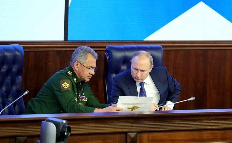 Навоенно-практической конференции поитогам спецоперации вСирии. СМинистром обороны Сергеем Шойгу.