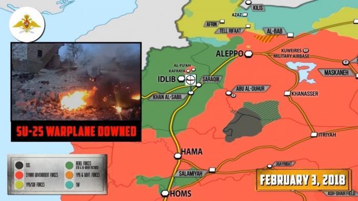 Сирии. Сбит Су-25 ВКС России. Правительственная армия и ВКС мстят и наступают