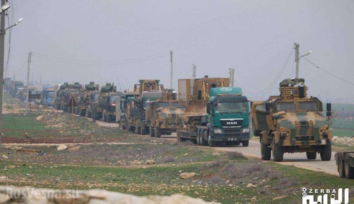 Большая колонна армии Турции вошла в Алеппо и была обстреляна сирийской артиллерией