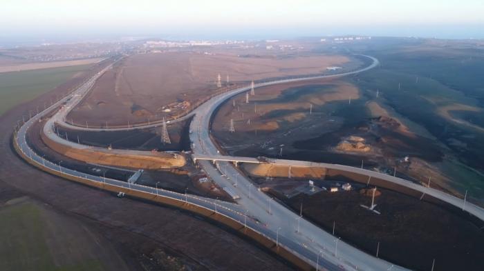 Трасса «Таврида». Видео 4К строительства развязки автоподходов к мосту