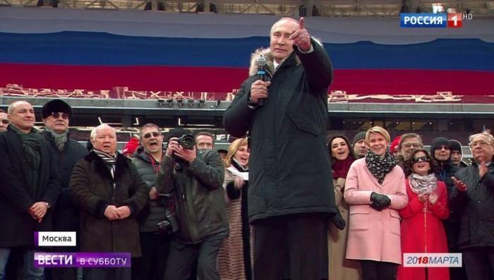 Вместе с Владимиром Путиным пели все «Лужники»