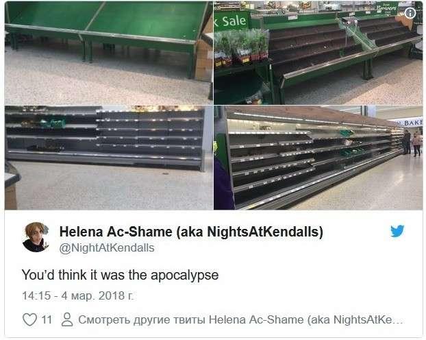 В Великобритании «апокалипсис»: из-за шторма опустели полки в магазинах