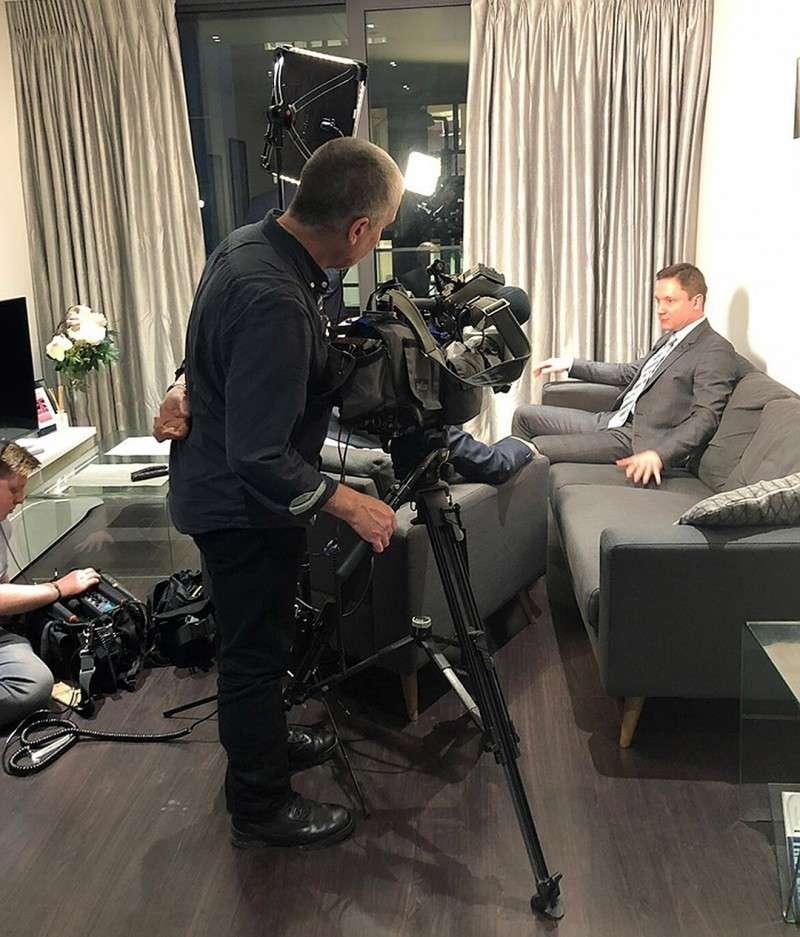 Сергей Капчук во время интервью британскому телеканалу SkyTV