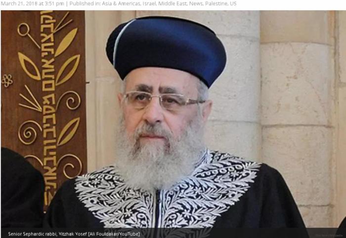 Главный раввин Израиля Ицхак Йосеф назвал негров обезьянами
