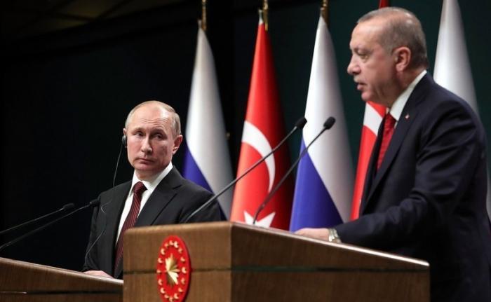 Владимир Путин иРеджеп Тайип Эрдоган провели совместную пресс-конференцию