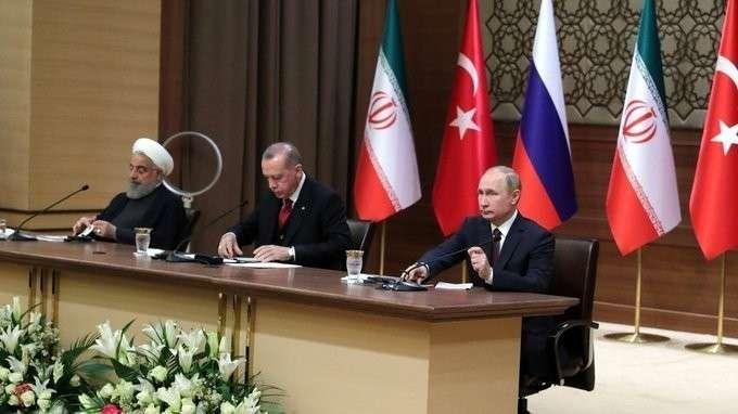 Пресс-конференция поитогам встречи президентов России, Турции иИрана