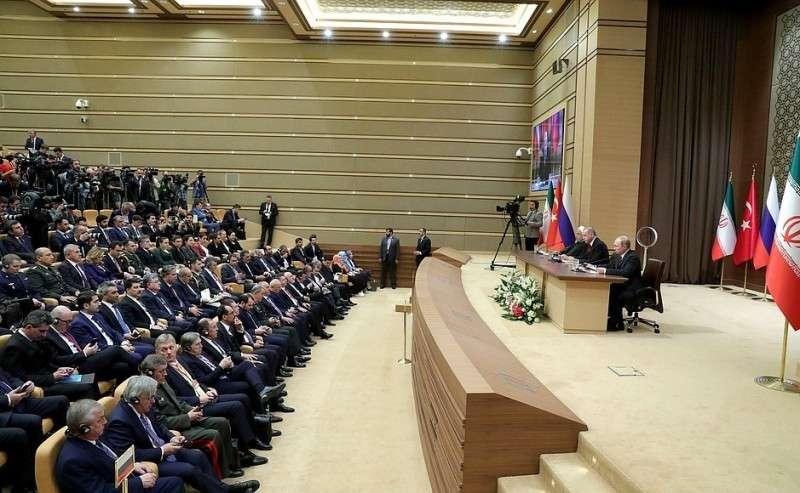 Пресс-конференция поитогам встречи президентов России, Турции иИрана.