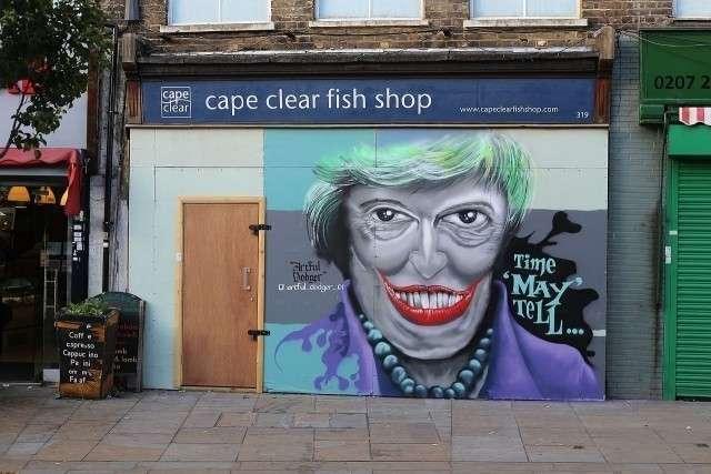 Тереза Мэй. Граффити в Лондоне
