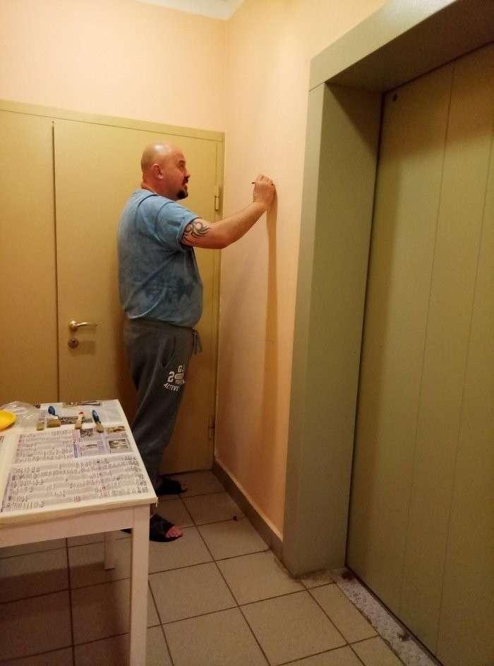 Как лифтовую площадку многоэтажки превратить во что-то необычное подъезд, рисунки, своими руками, сделай сам
