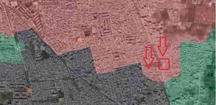 Карта боевых действий в южном Дамаске