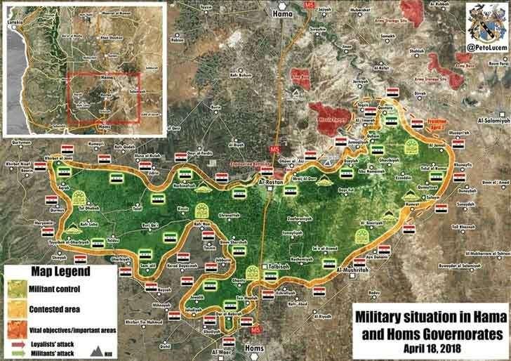 Карта оккупированных джихадистами территорий на севере Хомса